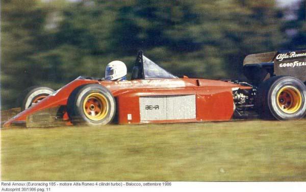 Ο Rene Arnoux δοκιμάζει στο Balocco μια Euroracing Alfa Romeo Turbo